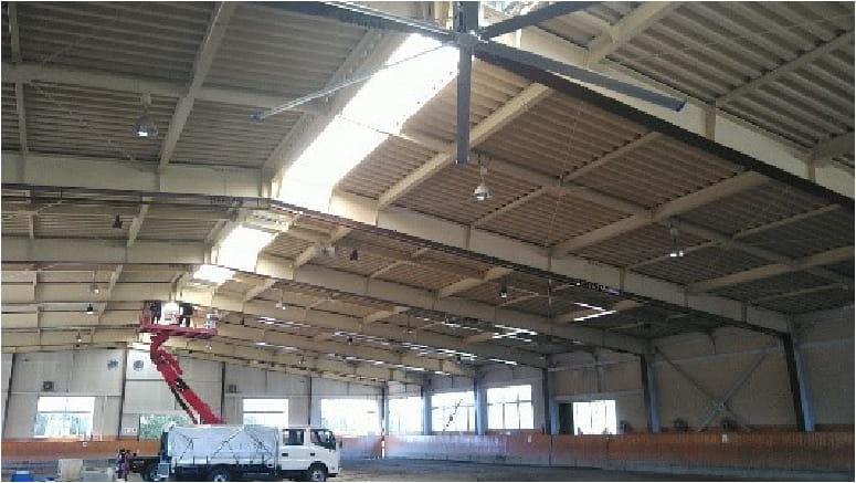 室内競技場の大空間で、厚生労働省の推薦換気量を大幅に上回る換気対策を実現!